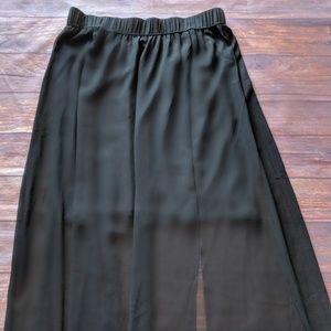 Long sheer skirt with side slit